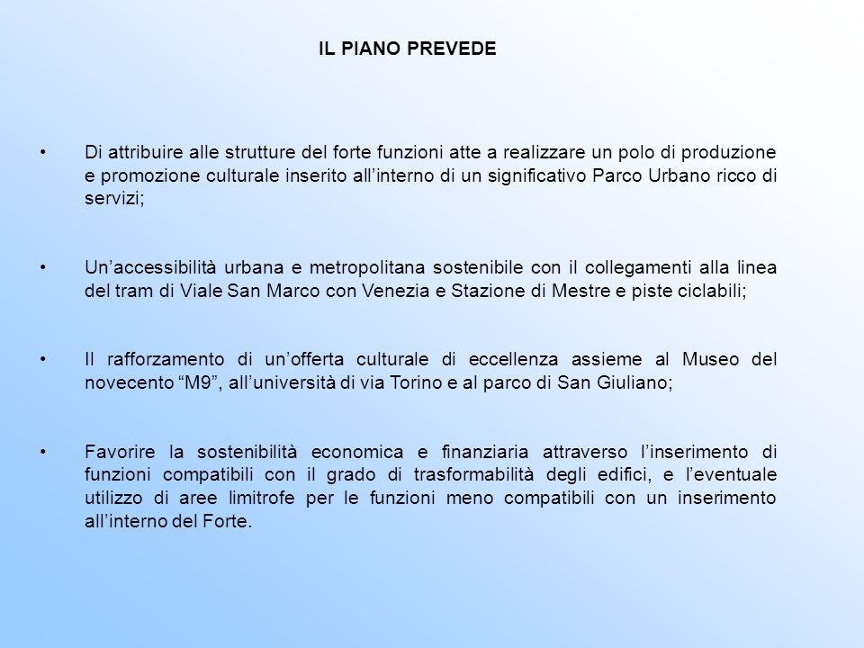 IL PIANO PREVEDE Di attribuire alle strutture del forte funzioni atte a realizzare un polo di produzione e promozione culturale inserito allinterno di