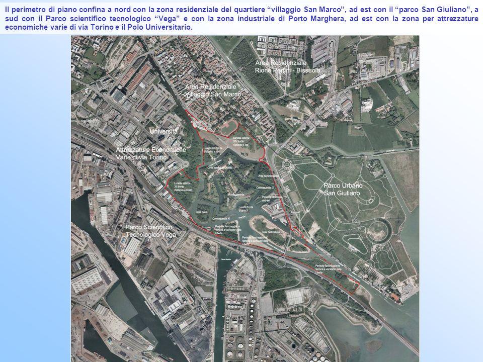 Il perimetro di piano confina a nord con la zona residenziale del quartiere villaggio San Marco, ad est con il parco San Giuliano, a sud con il Parco