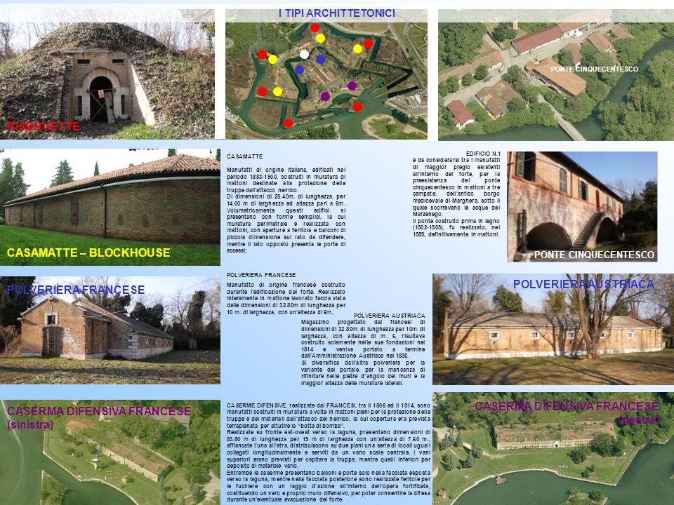 EDIFICIO N.1 è da considerarsi tra i manufatti di maggior pregio esistenti allinterno del forte, per la preesistenza del ponte cinquecentesco in matto
