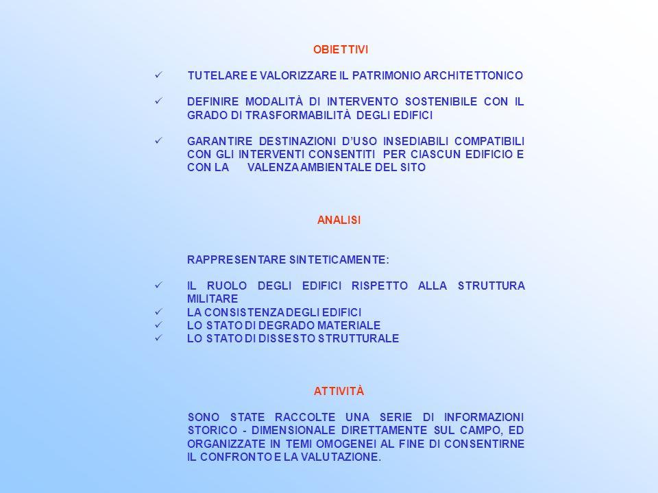 Ognuno dei 78 manufatti allinterno dellambito del Piano di Recupero del Forte Marghera è stato schedato, seguendo gli stessi criteri, e per ciascuno sono state compilate 4 schede: SCHEDA 1 – analisi dello stato di fatto SCHEDA 2A – analisi delle componenti costruttive SCHEDA 2B – analisi dello stato di degrado SCHEDA 3 – modalità di intervento ANALISI DEGLI MANUFATTI