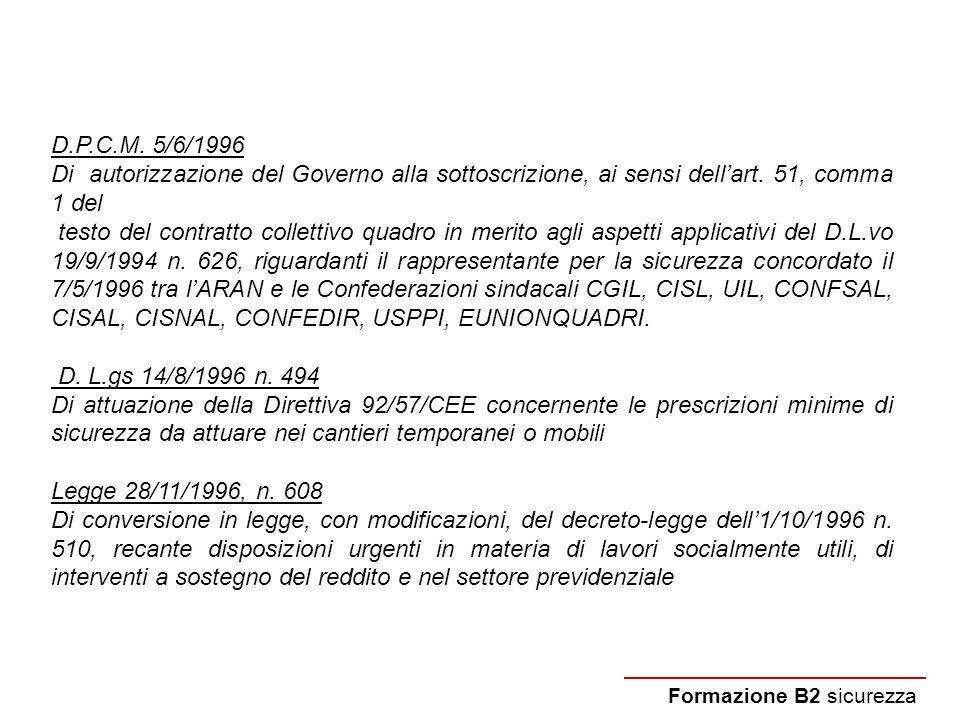 Formazione B2 sicurezza D.P.C.M. 5/6/1996 Di autorizzazione del Governo alla sottoscrizione, ai sensi dellart. 51, comma 1 del testo del contratto col