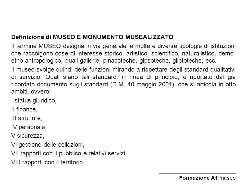 Definizione di MUSEO E MONUMENTO MUSEALIZZATO Il termine MUSEO designa in via generale le molte e diverse tipologie di istituzioni che raccolgono cose