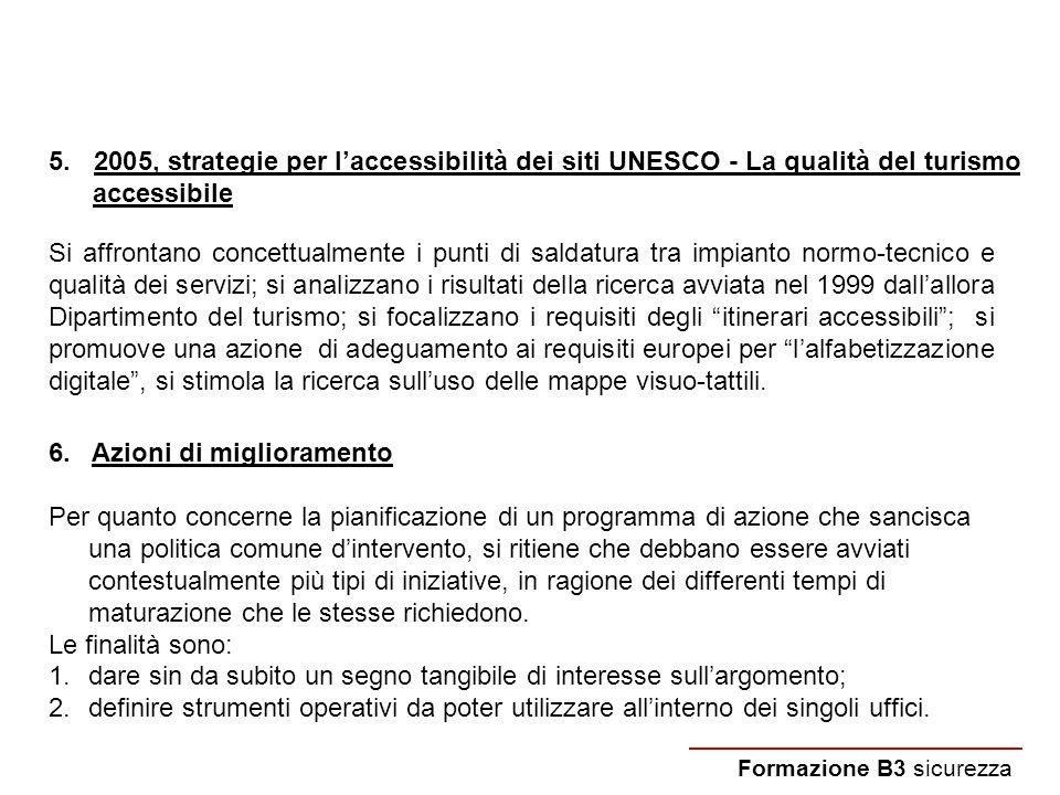 5. 2005, strategie per laccessibilità dei siti UNESCO - La qualità del turismo accessibile Formazione B3 sicurezza Si affrontano concettualmente i pun