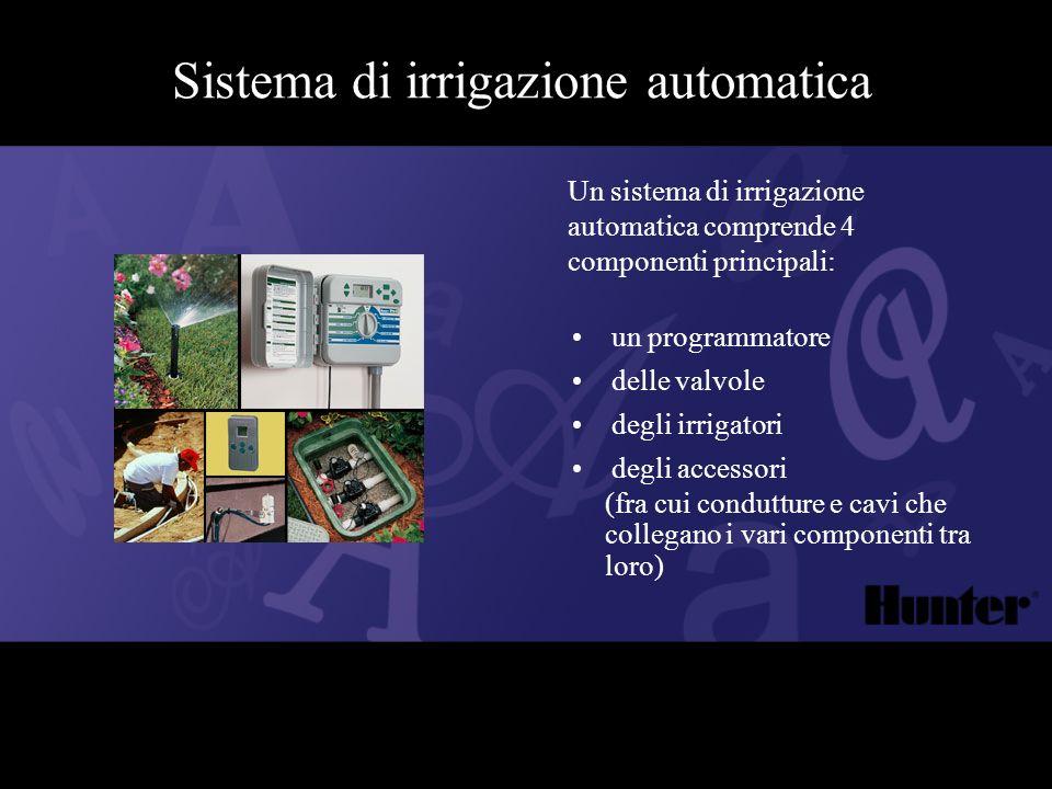 Sistema di irrigazione automatica Un sistema di irrigazione automatica comprende 4 componenti principali: un programmatore delle valvole degli irrigat