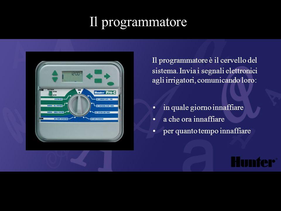 Il programmatore Il programmatore è il cervello del sistema. Invia i segnali elettronici agli irrigatori, comunicando loro: in quale giorno innaffiare