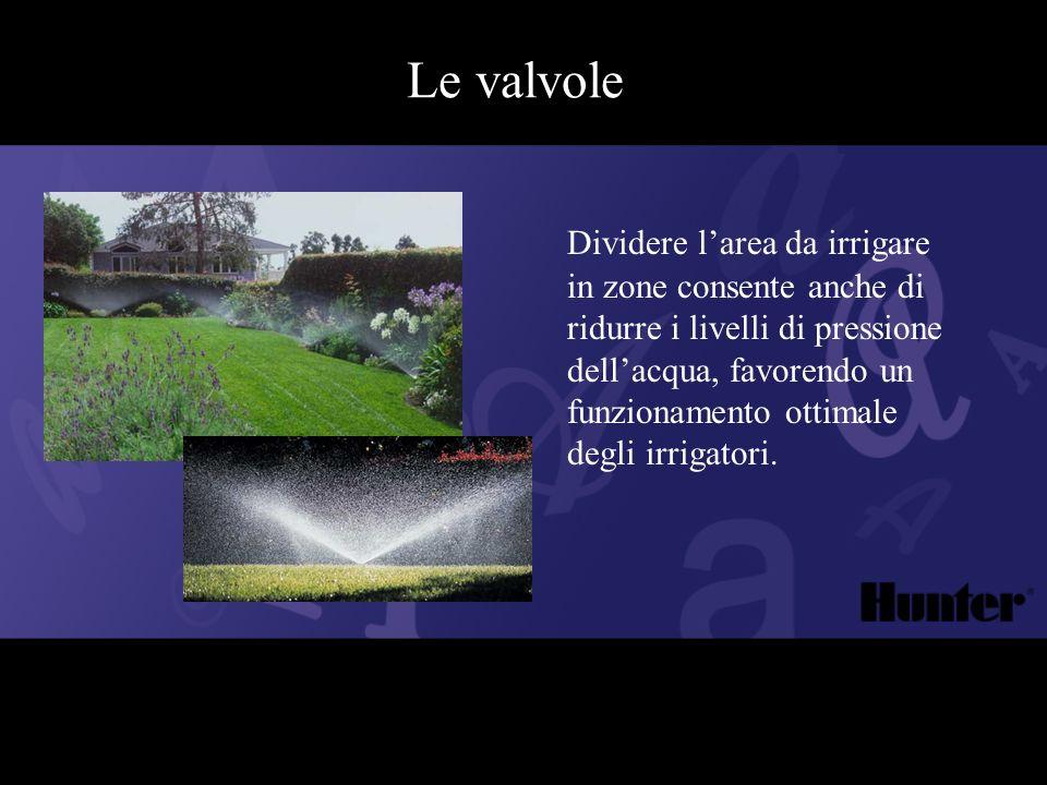 Le valvole Dividere larea da irrigare in zone consente anche di ridurre i livelli di pressione dellacqua, favorendo un funzionamento ottimale degli ir