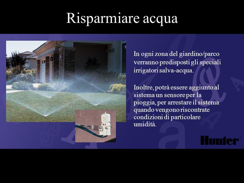 Inoltre, potrà essere aggiunto al sistema un sensore per la pioggia, per arrestare il sistema quando vengono riscontrate condizioni di particolare umi