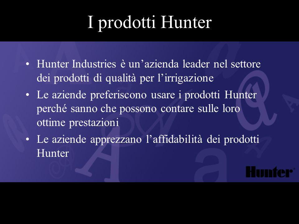 I prodotti Hunter Hunter Industries è unazienda leader nel settore dei prodotti di qualità per lirrigazione Le aziende preferiscono usare i prodotti H