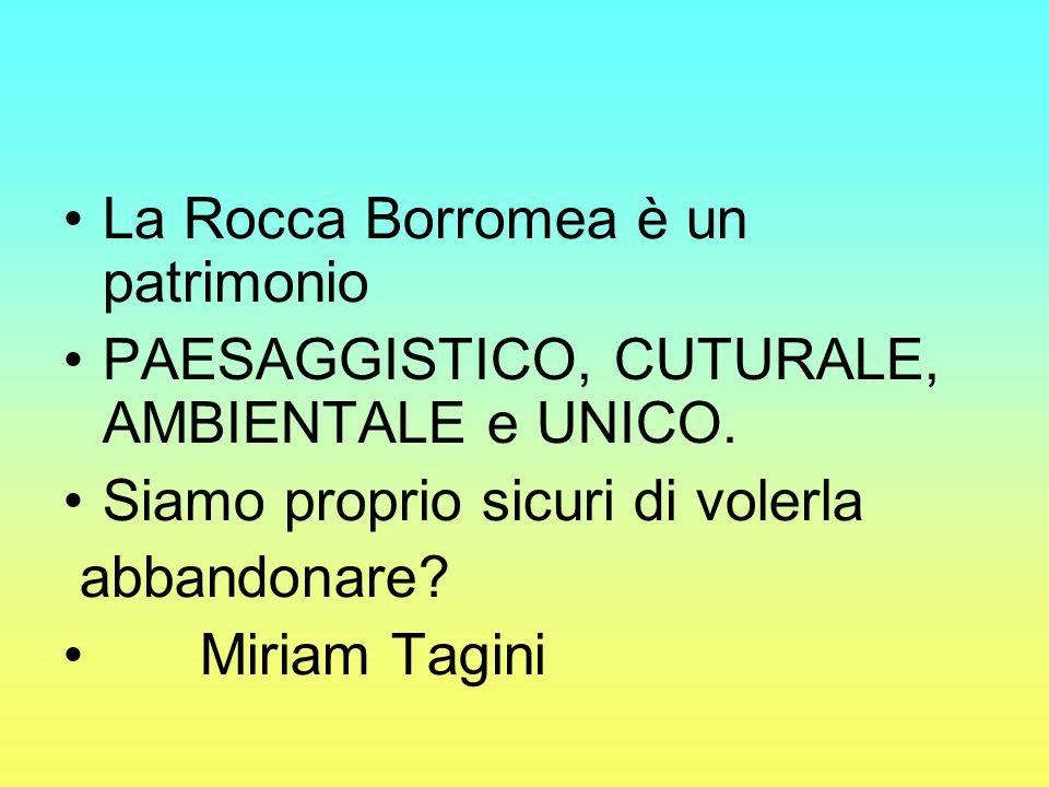 La Rocca Borromea è un patrimonio PAESAGGISTICO, CUTURALE, AMBIENTALE e UNICO. Siamo proprio sicuri di volerla abbandonare? Miriam Tagini