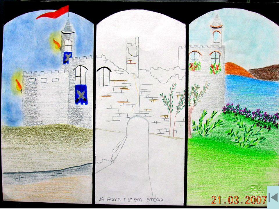 Sono Deborah Boffi, il mio disegno rappresenta dei momenti della storia della Rocca: Quello a sinistra ricorda la Rocca nel 1000 d.C.; in alto la Rocca nel 1800 d.C.; quello a destra la Rocca nel 2002; in basso la Rocca in futuro.