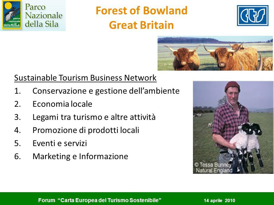 Forum Carta Europea del Turismo Sostenibile 14 aprile 2010 Sustainable Tourism Business Network 1.Conservazione e gestione dellambiente 2.Economia loc