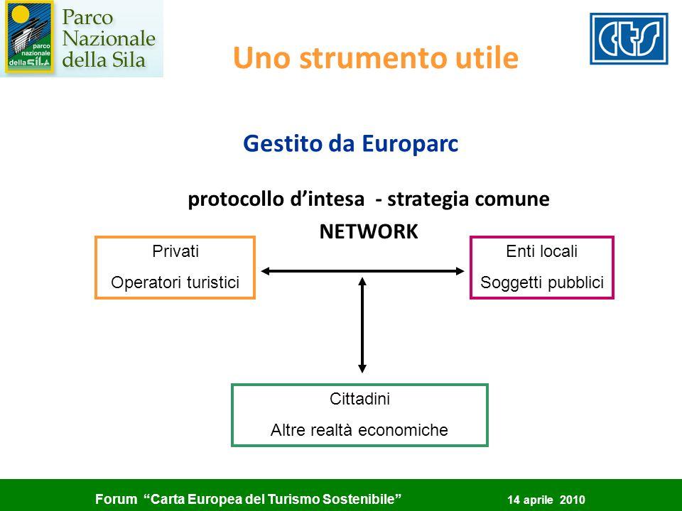Forum Carta Europea del Turismo Sostenibile 14 aprile 2010 Uno strumento utile Gestito da Europarc protocollo dintesa - strategia comune NETWORK Enti