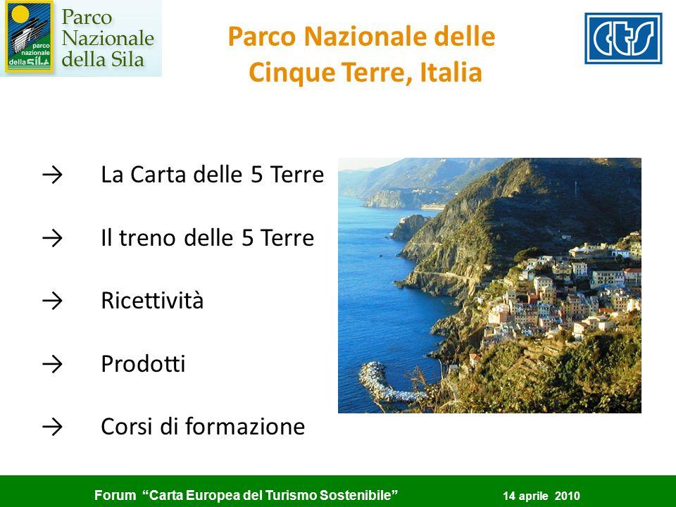 Forum Carta Europea del Turismo Sostenibile 14 aprile 2010 Parco Nazionale delle Cinque Terre, Italia La Carta delle 5 Terre Il treno delle 5 Terre Ri