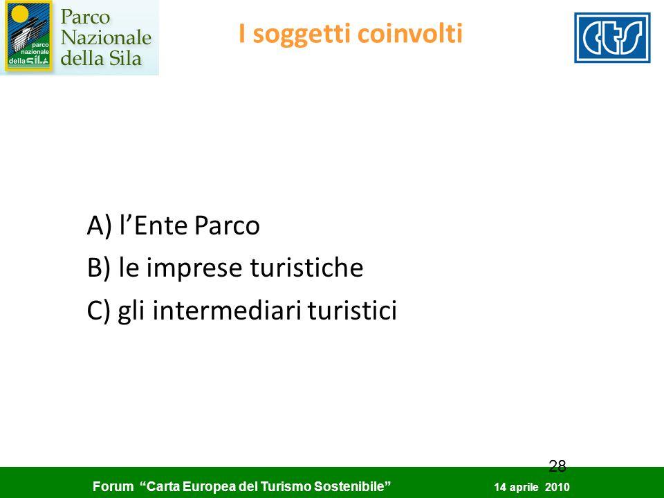 Forum Carta Europea del Turismo Sostenibile 14 aprile 2010 28 I soggetti coinvolti A) lEnte Parco B) le imprese turistiche C) gli intermediari turisti