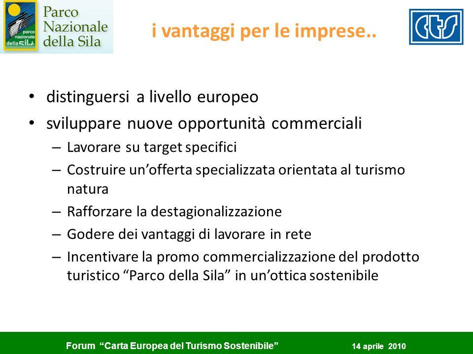 Forum Carta Europea del Turismo Sostenibile 14 aprile 2010 i vantaggi per le imprese.. distinguersi a livello europeo sviluppare nuove opportunità com