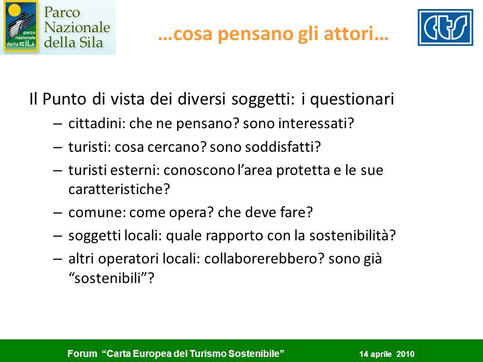 Forum Carta Europea del Turismo Sostenibile 14 aprile 2010 …cosa pensano gli attori… Il Punto di vista dei diversi soggetti: i questionari – cittadini