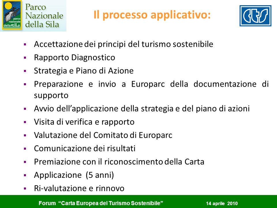Forum Carta Europea del Turismo Sostenibile 14 aprile 2010 Il processo applicativo: Accettazione dei principi del turismo sostenibile Rapporto Diagnos