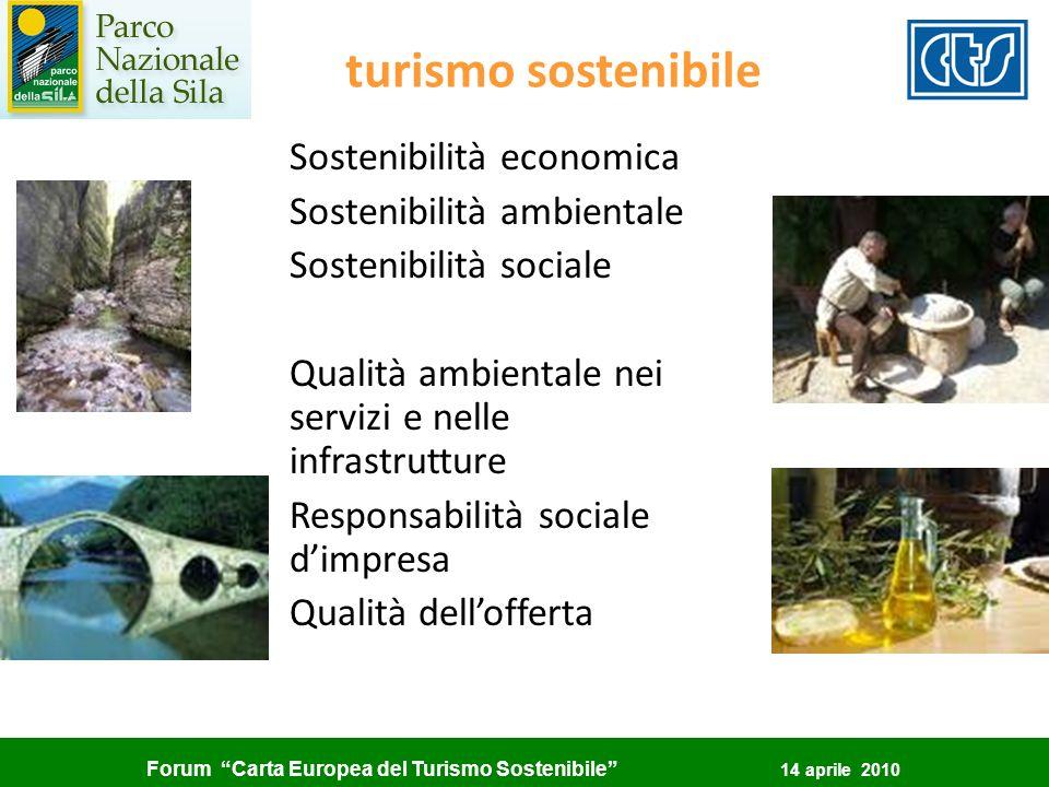 Forum Carta Europea del Turismo Sostenibile 14 aprile 2010 turismo sostenibile Sostenibilità economica Sostenibilità ambientale Sostenibilità sociale
