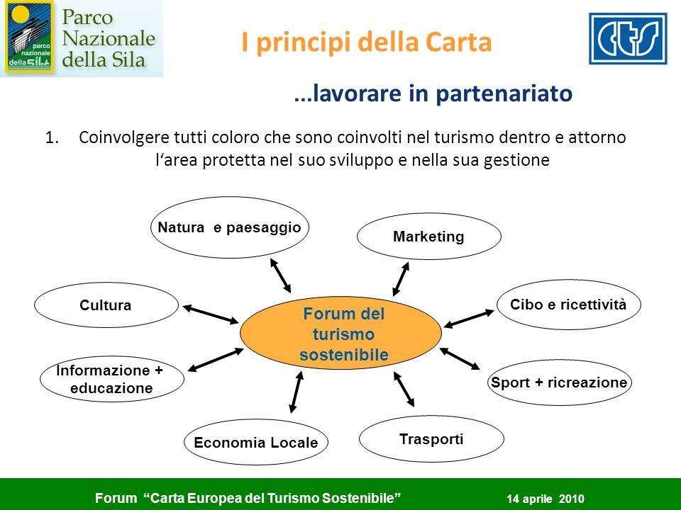 Forum Carta Europea del Turismo Sostenibile 14 aprile 2010 Forum del turismo sostenibile Natura e paesaggio Cultura Informazione + educazione Economia