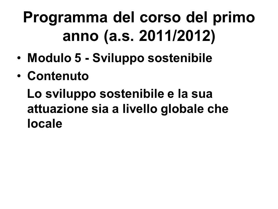 Programma del corso del primo anno (a.s. 2011/2012) Modulo 5 - Sviluppo sostenibile Contenuto Lo sviluppo sostenibile e la sua attuazione sia a livell