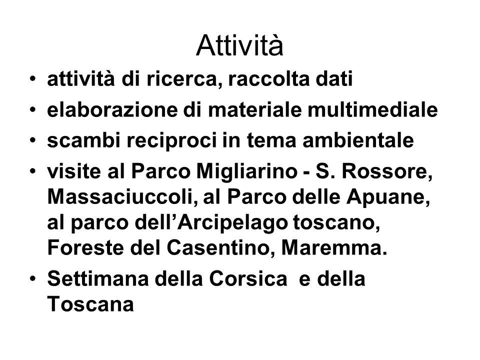 Attività attività di ricerca, raccolta dati elaborazione di materiale multimediale scambi reciproci in tema ambientale visite al Parco Migliarino - S.