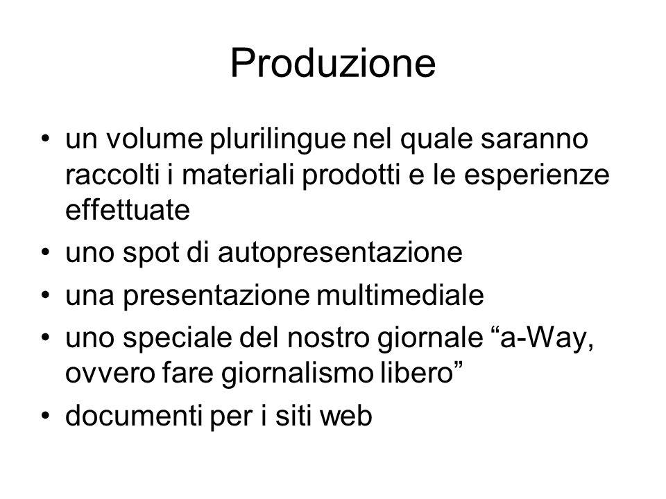 Produzione un volume plurilingue nel quale saranno raccolti i materiali prodotti e le esperienze effettuate uno spot di autopresentazione una presenta