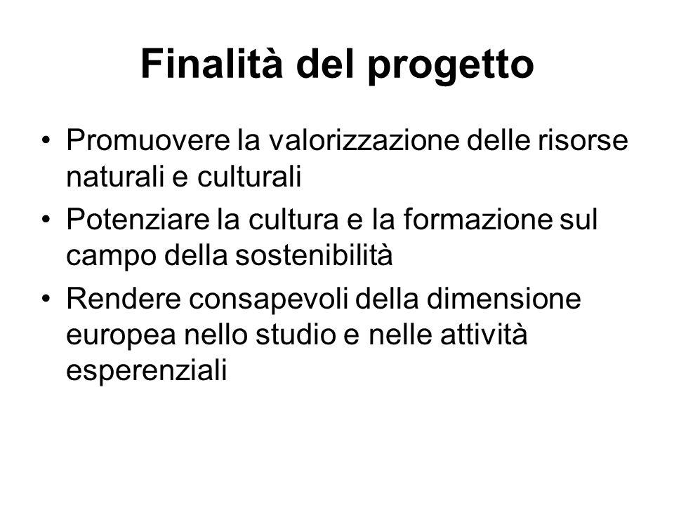 Finalità del progetto Promuovere la valorizzazione delle risorse naturali e culturali Potenziare la cultura e la formazione sul campo della sostenibil