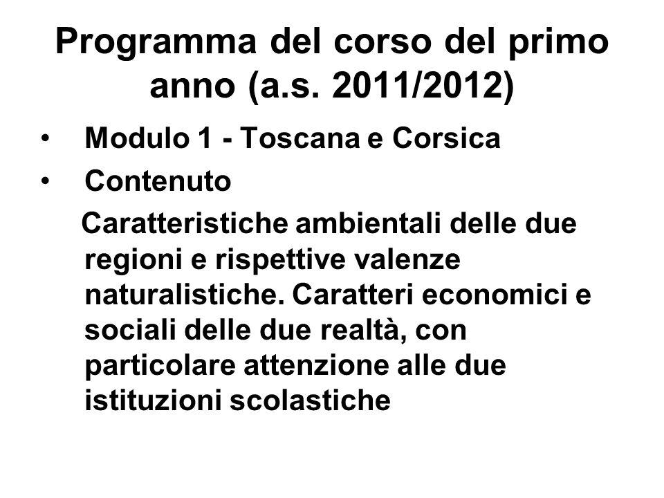 Programma del corso del primo anno (a.s. 2011/2012) Modulo 1 - Toscana e Corsica Contenuto Caratteristiche ambientali delle due regioni e rispettive v