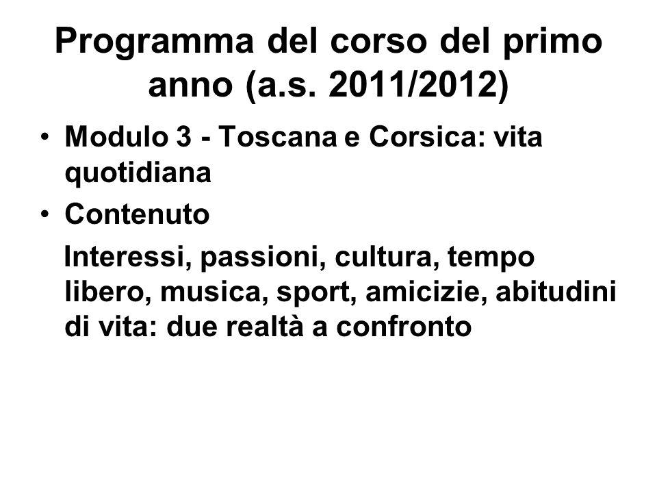 Programma del corso del primo anno (a.s. 2011/2012) Modulo 3 - Toscana e Corsica: vita quotidiana Contenuto Interessi, passioni, cultura, tempo libero