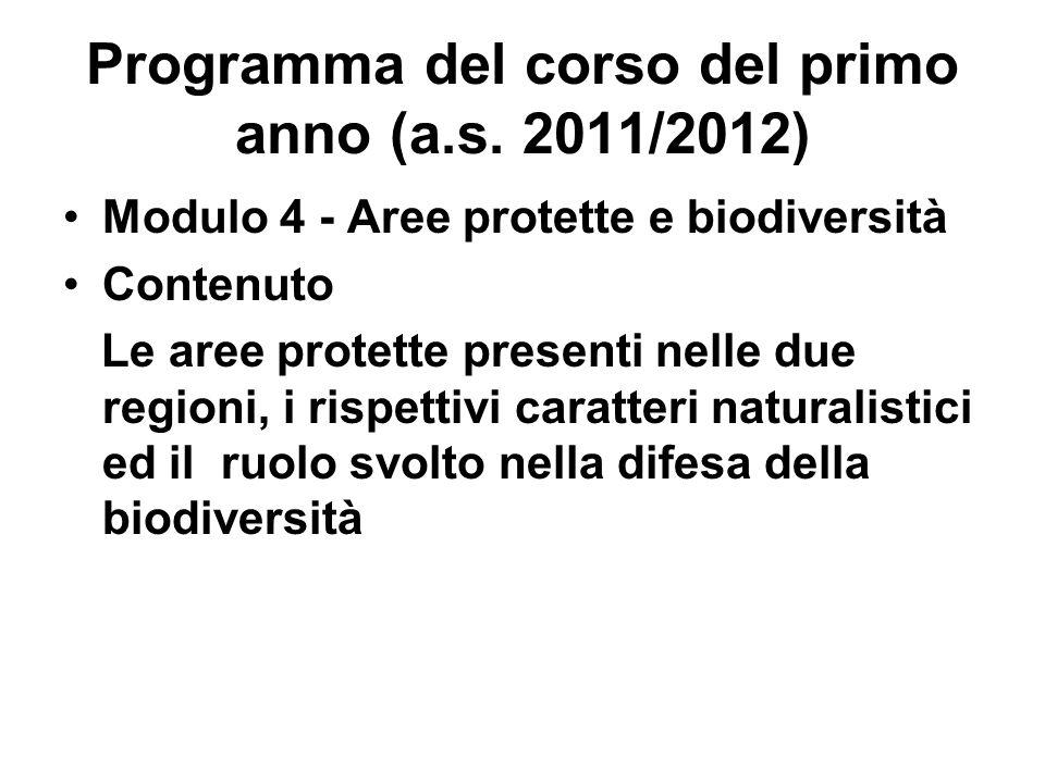 Programma del corso del primo anno (a.s. 2011/2012) Modulo 4 - Aree protette e biodiversità Contenuto Le aree protette presenti nelle due regioni, i r