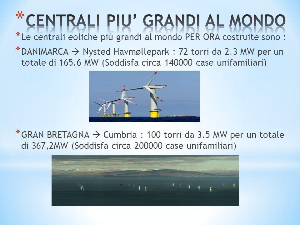 * Le centrali eoliche più grandi al mondo PER ORA costruite sono : * DANIMARCA Nysted Havmøllepark : 72 torri da 2.3 MW per un totale di 165.6 MW (Sod