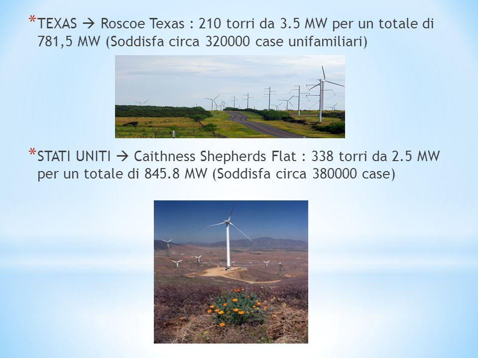 * TEXAS Roscoe Texas : 210 torri da 3.5 MW per un totale di 781,5 MW (Soddisfa circa 320000 case unifamiliari) * STATI UNITI Caithness Shepherds Flat