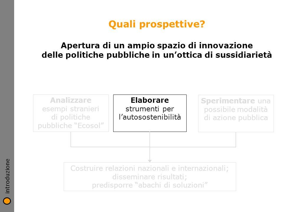 Quali prospettive? Apertura di un ampio spazio di innovazione delle politiche pubbliche in unottica di sussidiarietà Analizzare esempi stranieri di po