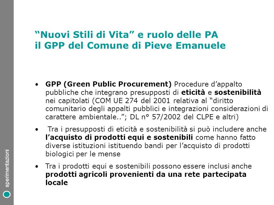 Nuovi Stili di Vita e ruolo delle PA il GPP del Comune di Pieve Emanuele GPP (Green Public Procurement) Procedure dappalto pubbliche che integrano pre