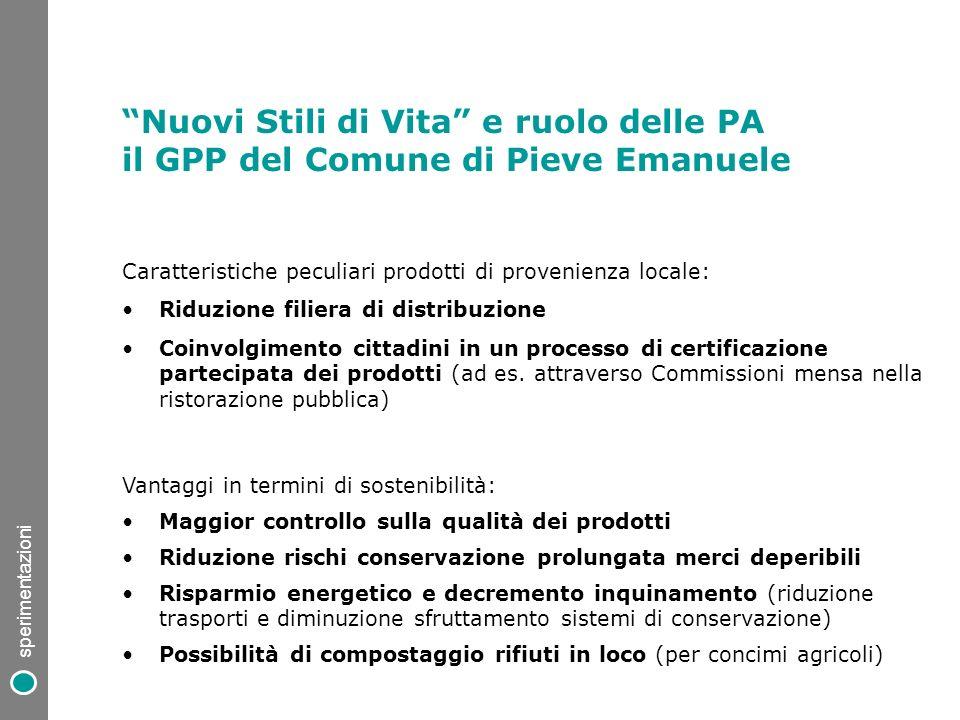 Caratteristiche peculiari prodotti di provenienza locale: Riduzione filiera di distribuzione Coinvolgimento cittadini in un processo di certificazione