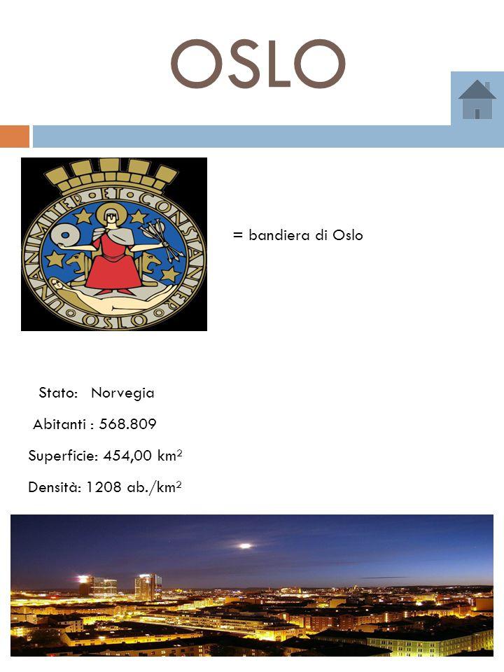 OSLO = bandiera di Oslo Abitanti : 568.809 NorvegiaStato: Superficie: 454,00 km² Densità: 1208 ab./km²