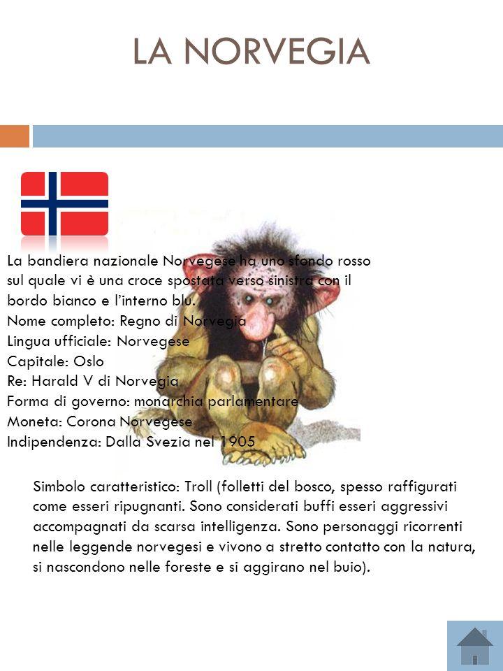 LA NORVEGIA = Bandiera nazionale Simbolo caratteristico: Troll (folletti del bosco, spesso raffigurati come esseri ripugnanti. Sono considerati buffi