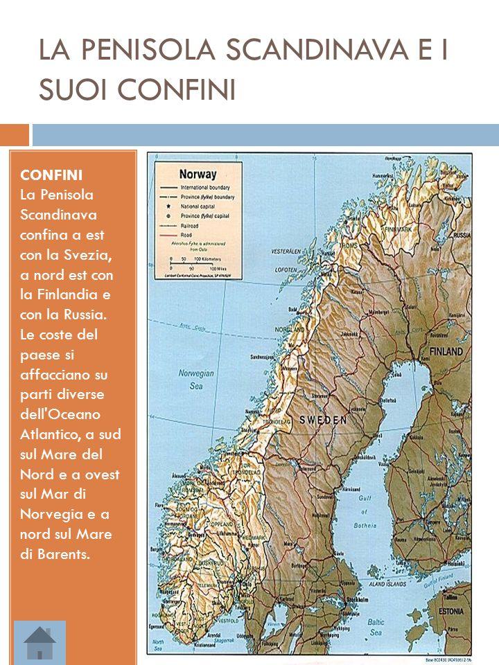 LA PENISOLA SCANDINAVA E I SUOI CONFINI CONFINI La Penisola Scandinava confina a est con la Svezia, a nord est con la Finlandia e con la Russia. Le co