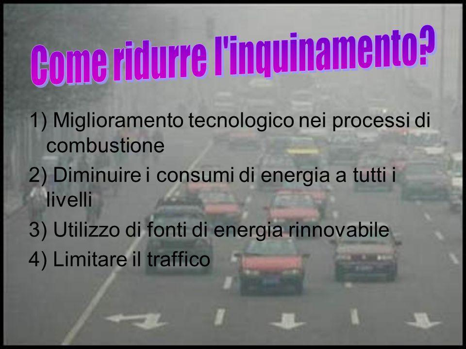 1) Miglioramento tecnologico nei processi di combustione 2) Diminuire i consumi di energia a tutti i livelli 3) Utilizzo di fonti di energia rinnovabile 4) Limitare il traffico