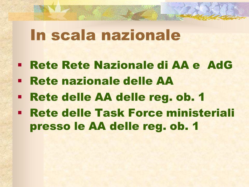 In scala nazionale Rete Rete Nazionale di AA e AdG Rete nazionale delle AA Rete delle AA delle reg.