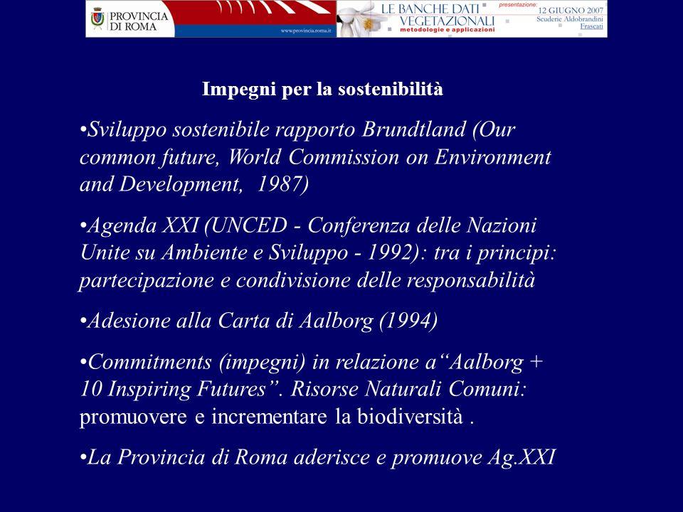 Impegni per la sostenibilità Sviluppo sostenibile rapporto Brundtland (Our common future, World Commission on Environment and Development, 1987) Agend