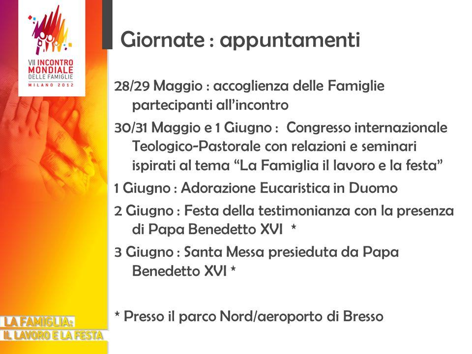 28/29 Maggio : accoglienza delle Famiglie partecipanti allincontro 30/31 Maggio e 1 Giugno : Congresso internazionale Teologico-Pastorale con relazion