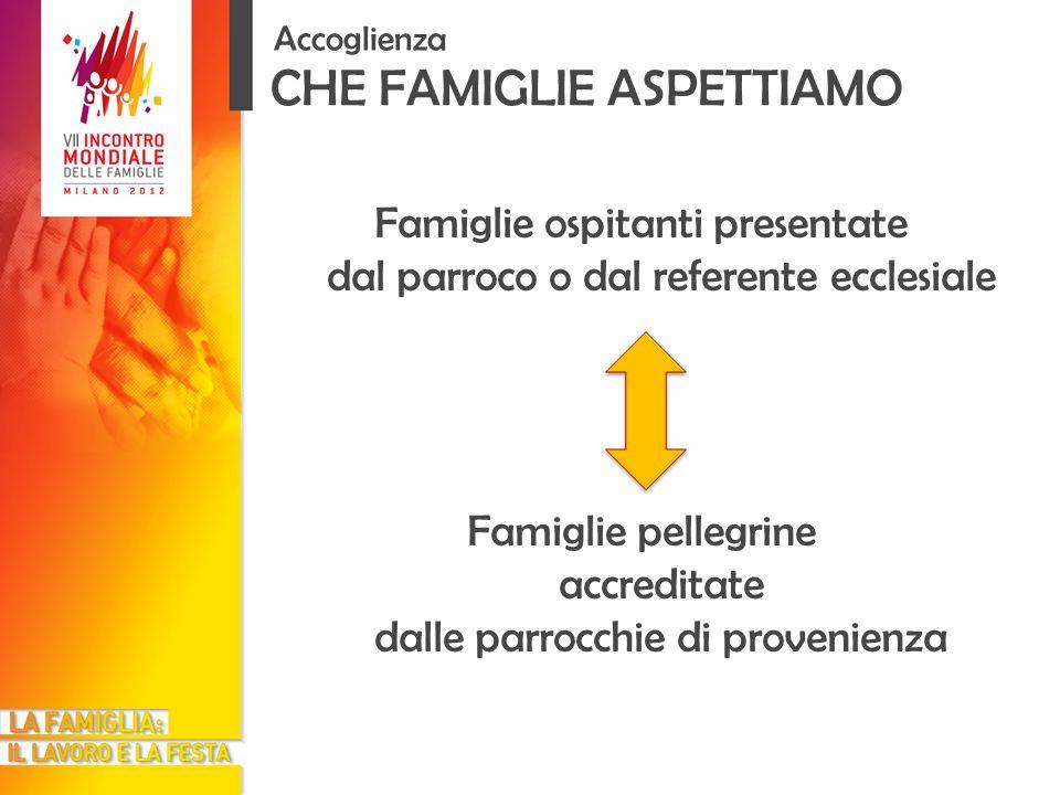 Famiglie ospitanti presentate dal parroco o dal referente ecclesiale Famiglie pellegrine accreditate dalle parrocchie di provenienza CHE FAMIGLIE ASPETTIAMO Accoglienza