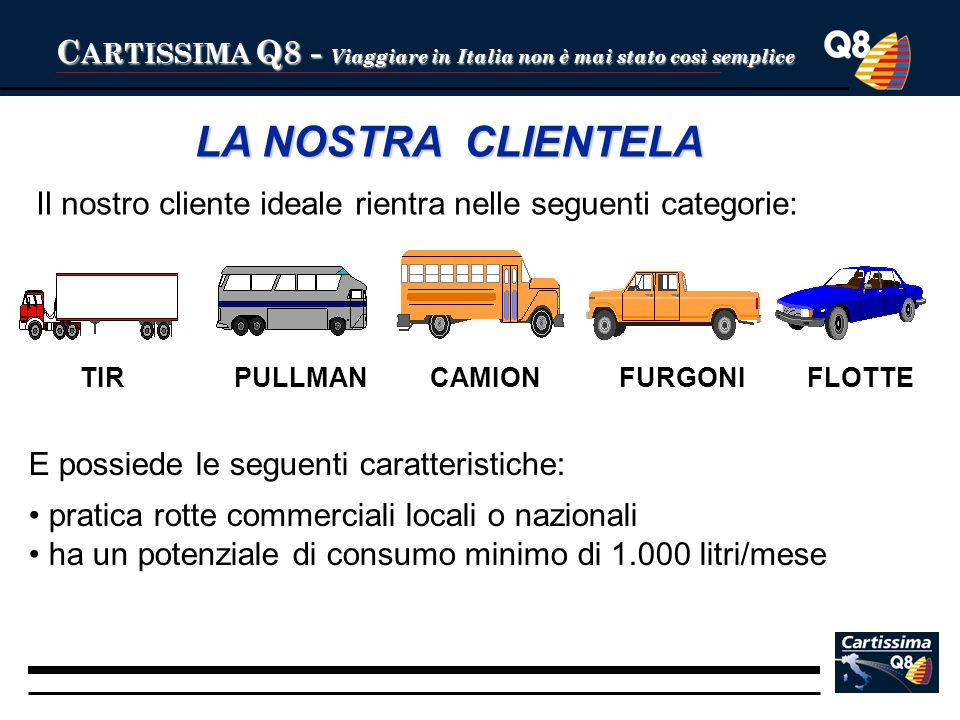 C ARTISSIMA Q8 - Viaggiare in Italia non è mai stato così semplice LA NOSTRA CLIENTELA Il nostro cliente ideale rientra nelle seguenti categorie: TIRP