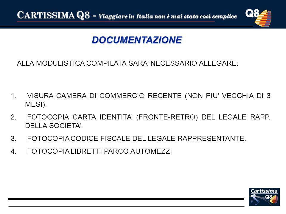 C ARTISSIMA Q8 - Viaggiare in Italia non è mai stato così semplice DOCUMENTAZIONE 1. 1. VISURA CAMERA DI COMMERCIO RECENTE (NON PIU VECCHIA DI 3 MESI)