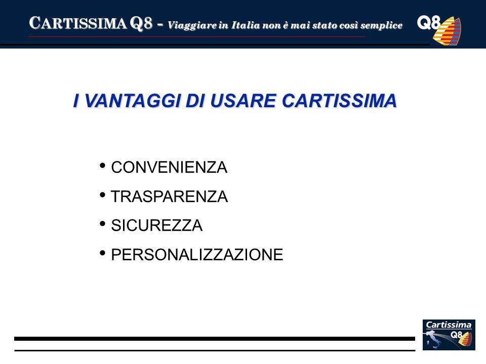 C ARTISSIMA Q8 - Viaggiare in Italia non è mai stato così semplice I VANTAGGI DI USARE CARTISSIMA CONVENIENZA TRASPARENZA SICUREZZA PERSONALIZZAZIONE