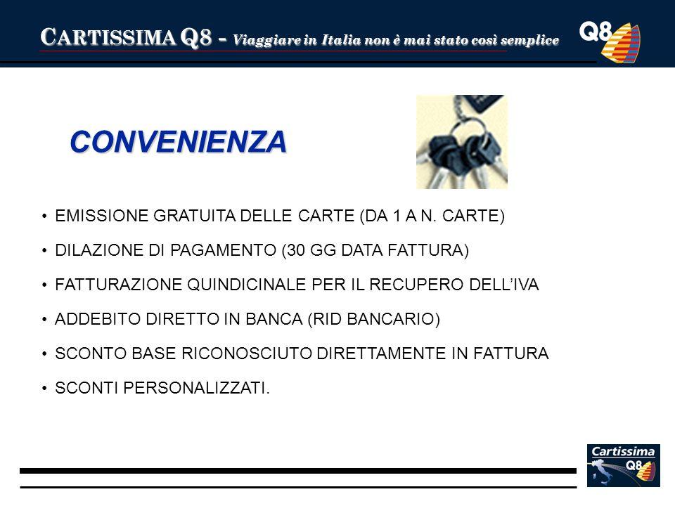 C ARTISSIMA Q8 - Viaggiare in Italia non è mai stato così semplice CONVENIENZA EMISSIONE GRATUITA DELLE CARTE (DA 1 A N. CARTE) DILAZIONE DI PAGAMENTO