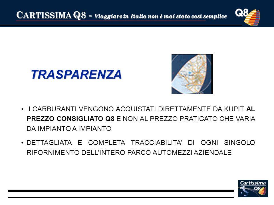 C ARTISSIMA Q8 - Viaggiare in Italia non è mai stato così semplice TRASPARENZA I CARBURANTI VENGONO ACQUISTATI DIRETTAMENTE DA KUPIT AL PREZZO CONSIGL