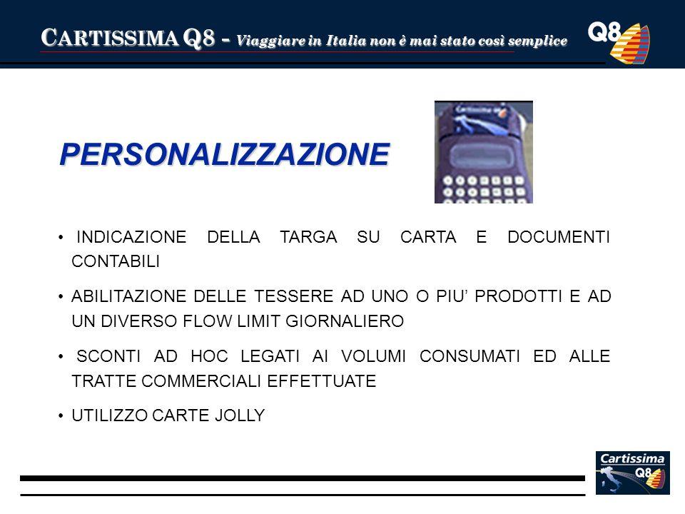 C ARTISSIMA Q8 - Viaggiare in Italia non è mai stato così semplice PERSONALIZZAZIONE INDICAZIONE DELLA TARGA SU CARTA E DOCUMENTI CONTABILI ABILITAZIO