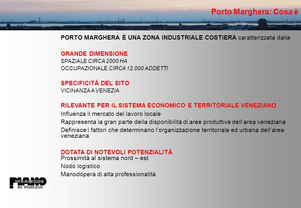 Porto Marghera: Cosa è PORTO MARGHERA È UNA ZONA INDUSTRIALE COSTIERA caratterizzata dalla GRANDE DIMENSIONE SPAZIALE CIRCA 2000 HA OCCUPAZIONALE CIRCA 12.000 ADDETTI SPECIFICITÀ DEL SITO VICINANZA A VENEZIA RILEVANTE PER IL SISTEMA ECONOMICO E TERRITORIALE VENEZIANO Influenza il mercato del lavoro locale Rappresenta la gran parte della disponibilità di aree produttive dellarea veneziana Definisce i fattori che determinano lorganizzazione territoriale ed urbana dellarea veneziana DOTATA DI NOTEVOLI POTENZIALITÀ Prossimità al sistema nord – est Nodo logistico Manodopera di alta professionalità